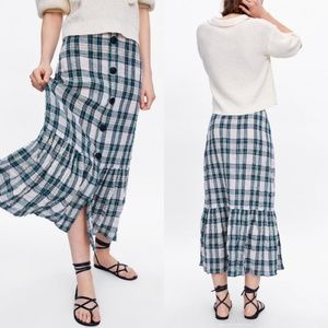 Zara Plaid Button Midi Skirt